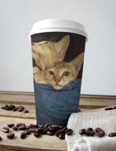 Cat Print Coffee Glass